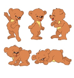 Funny cartoon bear-cubs vector