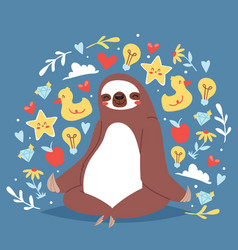 Funny sloth sitting in yoga lotus pose and vector