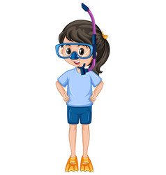 Girl with snorkel on white background vector