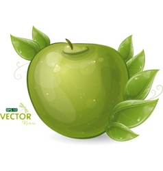 Green apple and leaves vector