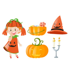 Halloween set with girl and jack-o-lantern vector