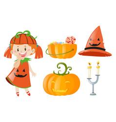 Halloween with girl and jack-o-lantern vector