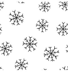 hand drawn snowflake icon seamless pattern vector image