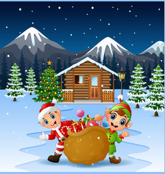 Happy santa claus and elf holding a big sack fille vector