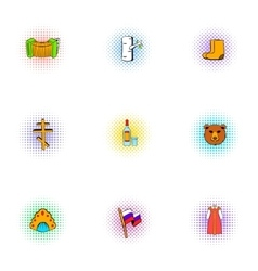Holiday in Russia icons set pop-art style vector image vector image