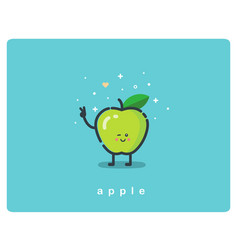 Icon of green apple fruit funny cartoon character vector