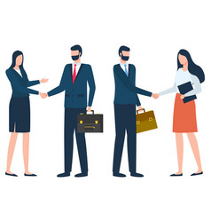 International businessmen on meeting shaking hands vector