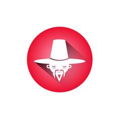 korean man icon male face with traditional hat and vector image