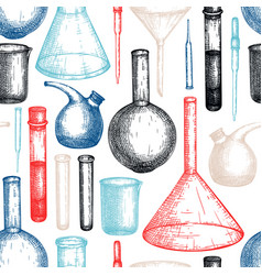 laboratory equipment sketch hand drawn glass vector image