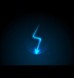 lightning bolt blue neon cartoon thunder vector image
