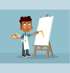 Little african boy painting on canvas cartoon vector
