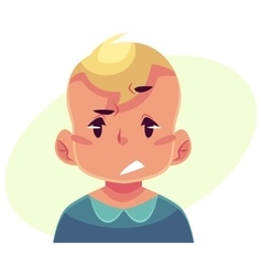 Little boy face upset confused facial expression vector image