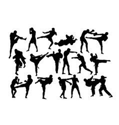 martial art activity silhouettes vector image