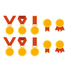 medal set flat different medals with ribbon vector image