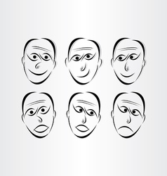 Men faces emotions symbols vector