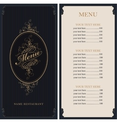 Menu in Baroque style vector