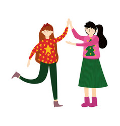 Merry christmas young women with ugly sweater vector
