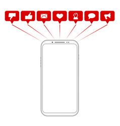 mobile phone social media symbols vector image