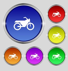 Motorbike icon sign Round symbol on bright vector