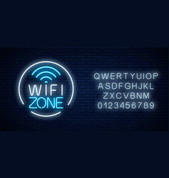 neon sign free wifi zone in circle frame with vector image