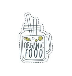 organic food logo label for healthy food store vector image