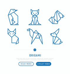 origami thin line icons set vector image