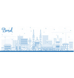 Outline basel switzerland city skyline with blue vector