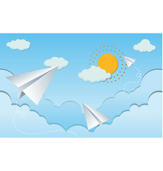 Paper airplanes in sky vector