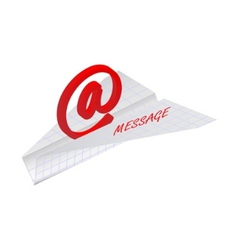 Paper plane with email symbol vector