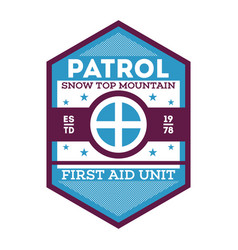 Patrol first aid unit isolated label vector