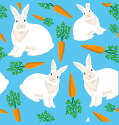 rabbits and carrots on a blue background vector image
