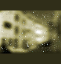 realistic water droplets on the transparent window vector image