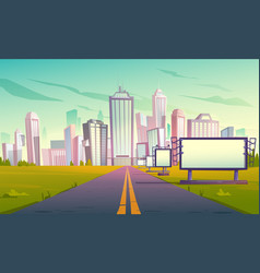 Road to city with billboards perspective view vector