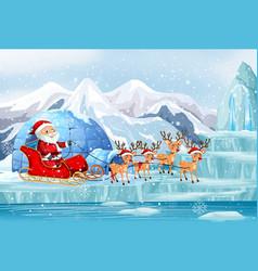 scene with santa riding on sleigh vector image
