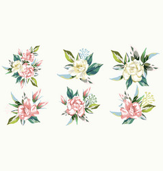 set bouquets roses vector image