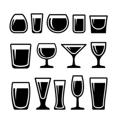 set drink glasses icons vector image