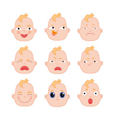 Set of flat baby faces showing different emotions vector