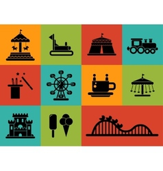 Set of flat design amusement park icons vector