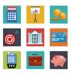 set of money and bank icons vector image