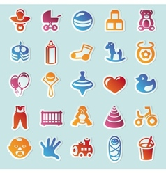 Set stickers with kids and toys vector