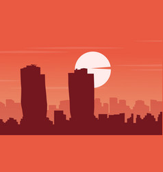 Silhouette of singapore building city scenery vector