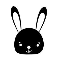 Silhouette smile rabbit head wild animal vector