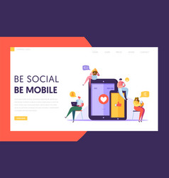 social media communication technology landing page vector image