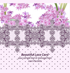 Summer flowers blossom lace card frame spring vector