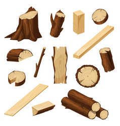 Timber set wood logs tree trunks and stump vector
