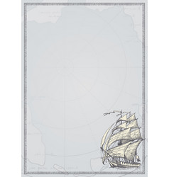 travel background with hand-drawn sailing ship vector image