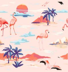 Tropical island flamingo seamless summer pattern vector