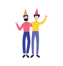 Two happy friends together on birthday party vector