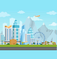 urban landscape with city and suburb vector image