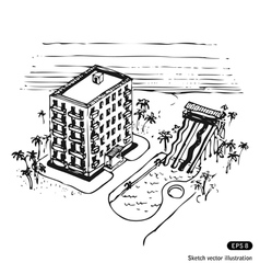 Vacation hotel and swimming pool by the ocean vector
